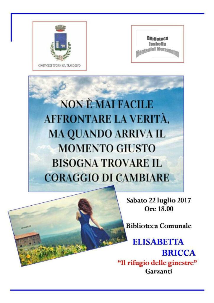 Locandina presentazione del libro di Elisabetta Bricca